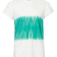 WHITE AND GREEN WASH T-SHIRT - T-Shirts & Tanks - New In - TOPMAN USA