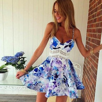 Floral Print Lace Patchwork Strap Dress