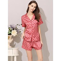 FENDI GUCCI Summer Popular Women Print Silk Short Sleeve Pajamas Home Wear