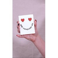 She Conquers All Pocket Note in Smiley Heart Design