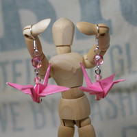 Hand Folded Pink Origami Crane Earrings with Faceted Bead Accent Great Valentine's Day Gift Idea