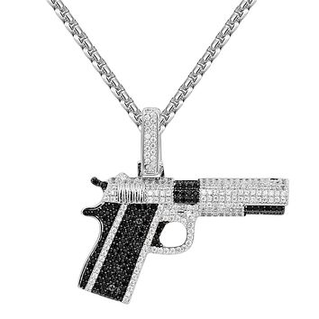 Black &White Custom Rifle Gun Pistol Pendant