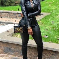 New Black Pockets Single Breasted PU Leather Two Piece Casual Long Jumpsuit
