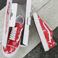 Supreme x Lv x Vans White fashion casual shoes