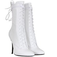 Balmain White Smooth Leather Lace Up Booties
