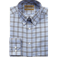 Gold Label Roundtree & Yorke Big and Tall Plaid Sportshirt - Dark Navy