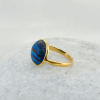 silver Ring, Rainbow Calsilica Ring, 12mm Round Ring, Gold Plated Ring, 925 Sterling Silver Ring, Gemstone Ring Jewelry  #1208