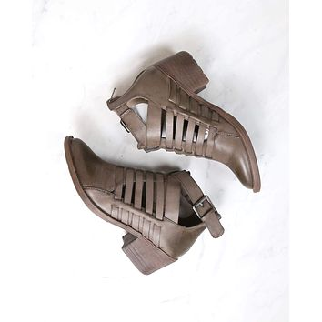 Very Volatile - Mckenna Western Cut Out Buckle Booties in Taupe