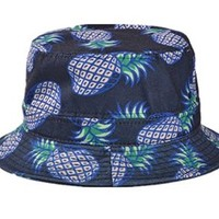 Soyagift Ladies Headwear Pineapple pattern Wide Rim Flat top fishing Bucket Hat with a Bracelets Gift