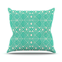 "Pom Graphic Design ""Going Native"" Teal Throw Pillow, 18"" x 18"" - Outlet Item"