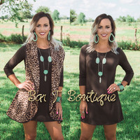 Brown 3/4 Sleeve Tunic Dress
