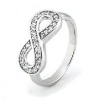 TIONEER Sterling Silver Channel Set Infinity Symbol Ring