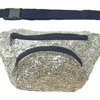 Silver Sequined Fanny Pack