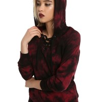 Licensed cool Red & Black Tie Dye Lace-Up Collar Pull Over Hoodie Juniors Hot Topic JRS L NWT
