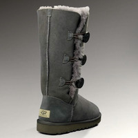 """UGG"" Women Fashion Wool Snow Boots three Button Grey"