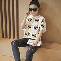 SIMPLE - Fashionable Summer Floral Loose Round Necked Short Sleeve Top T-shirt b4727