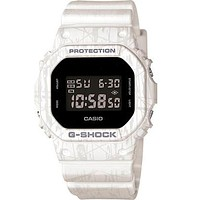 Casio Mens G-Shock - White Slash Pattern - Stopwatch - Resin Strap
