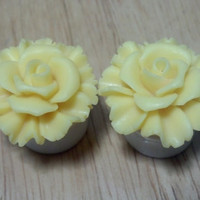 """Buy 2 Pairs/Get 3rd FREE! SUNNY YELLOW Pastel Large Rose Flower Plugs/Gauges 1/2"""", 9/16"""", 5/8"""", 11/16"""", 3/4"""", 7/8"""", 1"""" Available"""