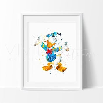 Donald Duck 2 Watercolor Art Print