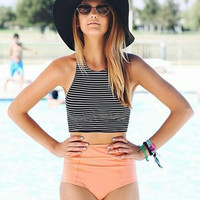 Summer Swimsuit New Arrival Beach Hot High Waist Sexy Stripes Sports Swimming Swimwear Bikini [9909149711]