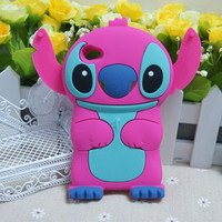 Rose Red 3D Stitch Silicone Soft Cover Case For For Apple iPod Touch 4 /4G
