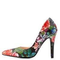 Black Multi Floral Print Pointed Toe D'Orsay Pumps by Charlotte Russe