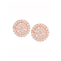 18K Rose Gold Pavé Diamond Scallop Stud Earrings