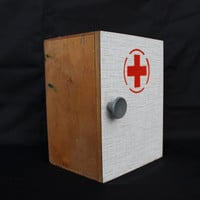 Red Cross First Aid Medical Cupboard Cabinet Locker Soviet Vintage Primitive Home Decor