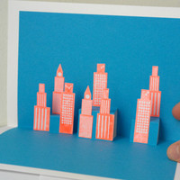 Let's hit the road - Pop-Up City Skyline card - Handmade Original Special Modern Bright Greeting Card