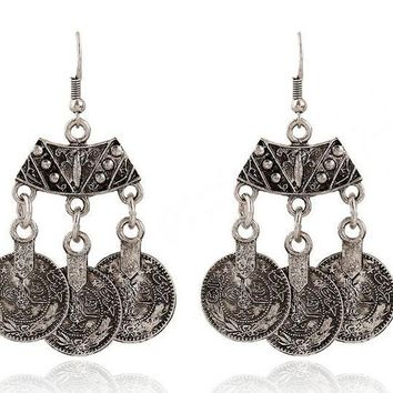 Vintage Persian Coin Dangling Tassel Earrings