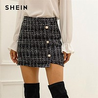 Black Plaid Tweed Pearls Button Front Wrap Pencil Skirt Women Bottoms Autumn Streetwear Ladies Bodycon Casual Mini Skirts