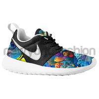 Nike Roshe Run Black White Aquatic Fish Aquarium Custom Kids / Womens
