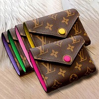 LV Tide brand multi-function wallet keychain Purple