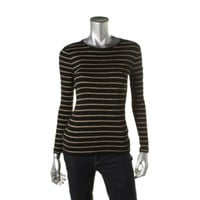 Lauren Ralph Lauren Womens Petites Striped Metallic Casual Top