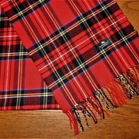 BURBERRY London Red Plaid 100% Cashmere SCARF Unisex Men Women NWOT