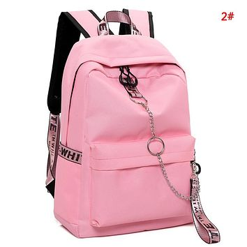 Off White Fashion New Letter Print Leisure Couple Leisure School Bag Backpack Bag 2#