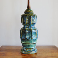 Mid Century Ceramic Lamp, Alvino Bagni Style Blue Green Lava Glazed Pottery Table Lamp, Danish Modern Ribbed