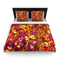 "Ebi Emporium ""Amongst the Flowers - Warm Sunset"" Pink Orange Woven Duvet Cover"