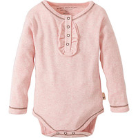 Burt's Bees Baby Organic Girls Long Sleeve Pink Henley Bodysuit with Ruffle Placket and Contrast Hem