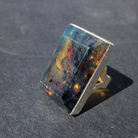 Blue Amber Ring, Men's Amber Jewelry, Ambre Bleu