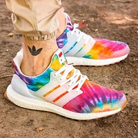"Nice Kicks x adidas Ultra Boost ""Woodstock"" Rainbow Sneakers Print Shoes"