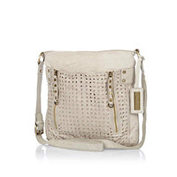 Cream leather perforated slouch messenger bag
