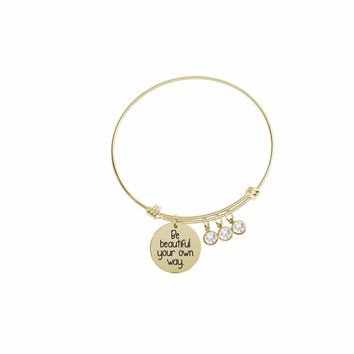 Expandable Multi Charm Inspirational Bangles By Pink Box