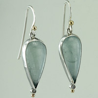 Aquamarine and Diamond Sterling Silver Earrings