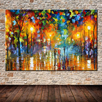 100% Hand-painted Landscape Oil Painting Lovers in street Abstract Canvas Art Home Decor Wall Art Home Decoration Fine Picture