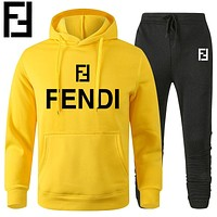 Fendi Print hoodie top and pants Trouser two piece set sports suit yellow