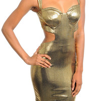 Metallic Cut Out Fitted Mini Dress in Gold