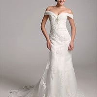 Trumpet/Mermaid Off-the-shoulder Organza Over Satin Wedding Dress With Removable Chapel Train