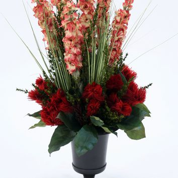 Red Phyliscens with Rust Gold Spikes in Antique Bronze Metal Urn