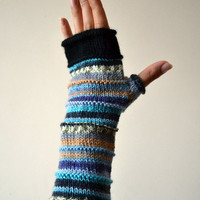 Blue Fingerless Gloves - Merino Wool Gloves - Blue Accessories - Pastel Colors - Knit Fingerless - Fashion Gloves nO 43.